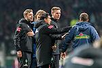 02.11.2019, wohninvest WESERSTADION, Bremen, GER, 1.FBL, Werder Bremen vs SC Freiburg<br /> <br /> DFL REGULATIONS PROHIBIT ANY USE OF PHOTOGRAPHS AS IMAGE SEQUENCES AND/OR QUASI-VIDEO.<br /> <br /> im Bild / picture shows<br /> Florian Kohfeldt (Trainer SV Werder Bremen), <br /> Ilia Gruev (Co-Trainer SV Werder Bremen), <br /> Tim Borowski (Co-Trainer SV Werder Bremen), <br /> Andreas Kronenberg (Torwart-Trainer SC Freiburg), <br /> nach Abpfiff / Spielende, <br /> <br /> Foto © nordphoto / Ewert