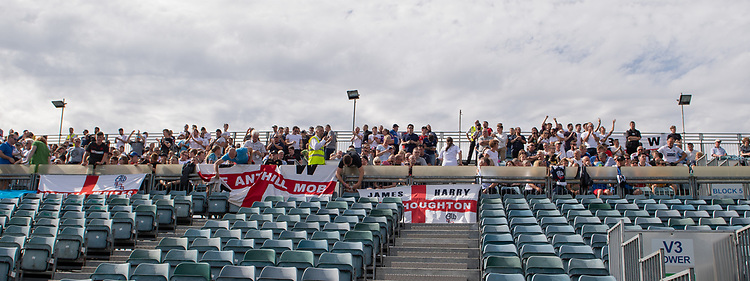 Bolton Wanderers fans preparing their banners<br /> <br /> Photographer David Horton/CameraSport<br /> <br /> The EFL Sky Bet League One - Gillingham v Bolton Wanderers - Saturday 31st August 2019 - Priestfield Stadium - Gillingham<br /> <br /> World Copyright © 2019 CameraSport. All rights reserved. 43 Linden Ave. Countesthorpe. Leicester. England. LE8 5PG - Tel: +44 (0) 116 277 4147 - admin@camerasport.com - www.camerasport.com