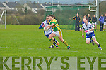 Trish Fitzgerald (Waterford) makes attempt to block the ball from  Patrice Dennehy (Kerry), in the Ladies National Football League on Sunday in Castleisland at The Castleisland Desmond GAA grounds.....