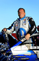 Sept. 5, 2010; Clermont, IN, USA; NHRA pro stock driver Allen Johnson during qualifying for the U.S. Nationals at O'Reilly Raceway Park at Indianapolis. Mandatory Credit: Mark J. Rebilas-