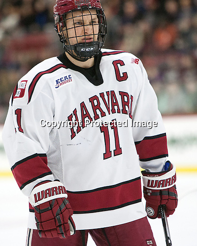 Kyle Criscuolo (Harvard - 11) - The Harvard University Crimson defeated the visiting Colgate University Raiders 7-4 (EN) on Saturday, February 20, 2016, at Bright-Landry Hockey Center in Boston, Massachusetts,