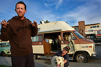 A man who gave his name as David, stands next to the camper van that he lives in with his girlfriend Vickie and their dog Isis in Ocean Beach, Thursday January 31 2008.  David and Vickie were both born deaf and both survive on welfare.  Until David bought the van for $350, they lived on the street.  San Diego City Council are studying the cost of a ban on overnight pakring of RV in coastal neighborhoods.