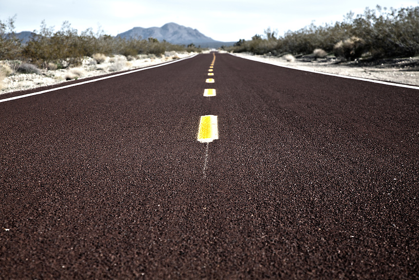 Highway through the Mojave National Preserve
