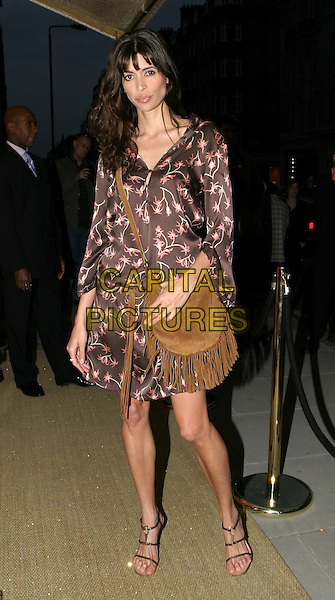 LISA B.Roberto Cavalli - store launch party.May 13th, 2004.full length, full-length, brown floral print dress, suede, leather bag, purse, tassles.www.capitalpictures.com.sales@capitalpictures.com.© Capital Pictures.