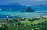 View of Chinaman's Hat and Kaneohe Bay from Kualoa Ranch, windward Oahu