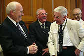 United States Vice President Dick Cheney meets with USS Bashaw Plankowners (left to right) John Grohowski, Ellis Howard and Sam Chiarelli on Capitol Hill Friday, May 28, 2004. The Plankowners are in Washington, D.C., to attend World War II commemoration activities. <br /> Mandatory Credit: Joyce Naltchayan / White House via CNP