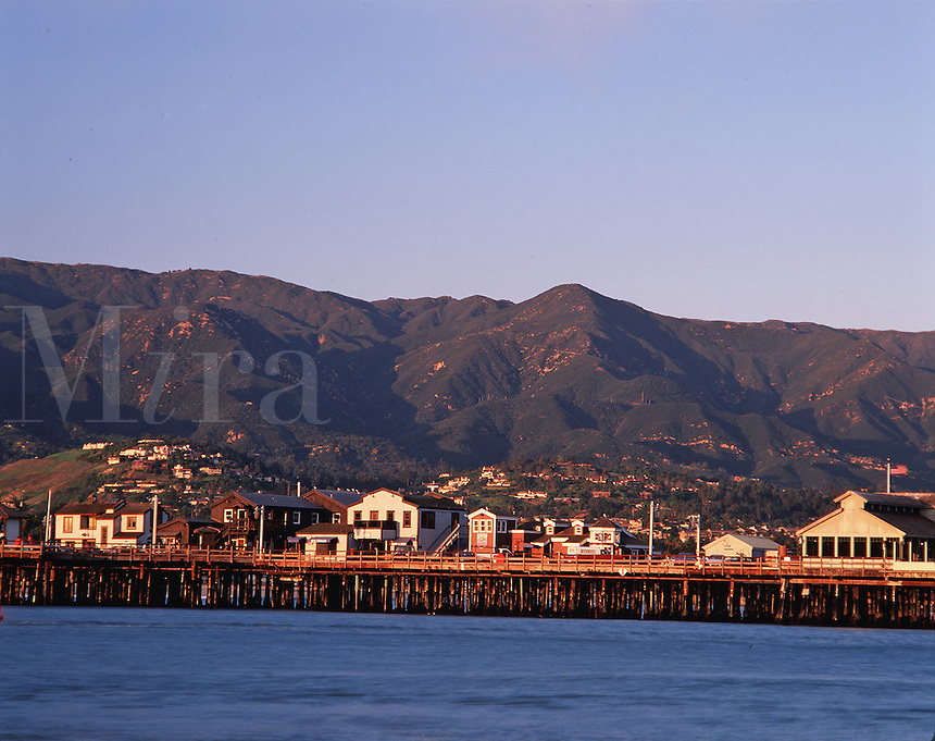 Long view of Stearns Wharf and background hills. Santa Barbara, California.