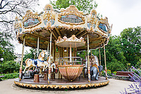 France, Bordeaux. Carousel in Le Jardin Publique.