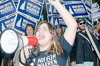 Supporters of Democratic presidential candidate and Massachusetts senator Elizabeth Warren march in the Labor Day Parade in Milford, New Hampshire, on Mon., September 2, 2019. Candidates Bernie Sanders and Vermin Supreme were the only candidates who marched in the parade this year.