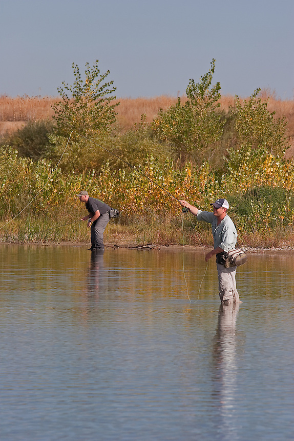 Jay Zimmerman and Jason Matthies fly fishing for Carp on Out-of-Towner Flats, Somewhere on the Front Range, Colorado