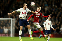 14th January 2020; Tottenham Hotspur Stadium, London, England; English FA Cup Football, Tottenham Hotspur versus Middlesbrough; Eric Dier of Tottenham Hotspur competes for the ball with Ben Liddle of Middlesbrough - Strictly Editorial Use Only. No use with unauthorized audio, video, data, fixture lists, club/league logos or 'live' services. Online in-match use limited to 120 images, no video emulation. No use in betting, games or single club/league/player publications