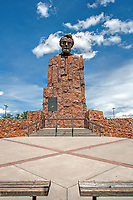 A monument to President Abraham Lincoln at what is dubbed the Lincoln Monument Rest Stop off of I-80, Wyoming, US.