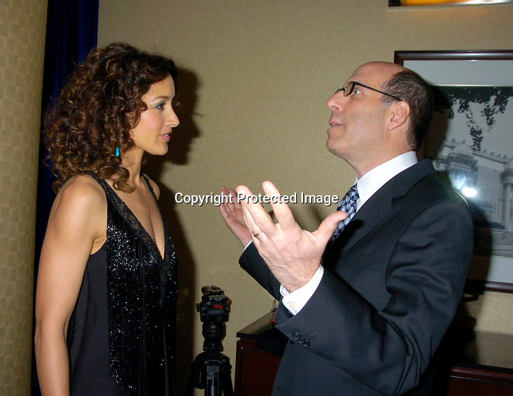 Jennifer Beals and Matthew Blank Chairman and CEO of Showtime Networks ..at the Cable Positive benefit of March 30, 2004 at the ..Marriott Marquis Hotel...Photo by Robin Platzer, Twin Images....