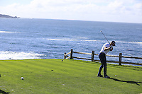 Green Bay Packers NFL quarterback Aaron Rodgers tees off the par3 7th tee at Pebble Beach Golf Links during Saturday's Round 3 of the 2017 AT&amp;T Pebble Beach Pro-Am held over 3 courses, Pebble Beach, Spyglass Hill and Monterey Penninsula Country Club, Monterey, California, USA. 11th February 2017.<br /> Picture: Eoin Clarke | Golffile<br /> <br /> <br /> All photos usage must carry mandatory copyright credit (&copy; Golffile | Eoin Clarke)