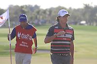 Rory McIlroy (NIR) on the 18th during the final day of  the Abu Dhabi HSBC Golf Championship, Abu Dhabi GC,Abu Dhabi,United Arab Emirates.Picture Fran Caffrey www.golffile.ie