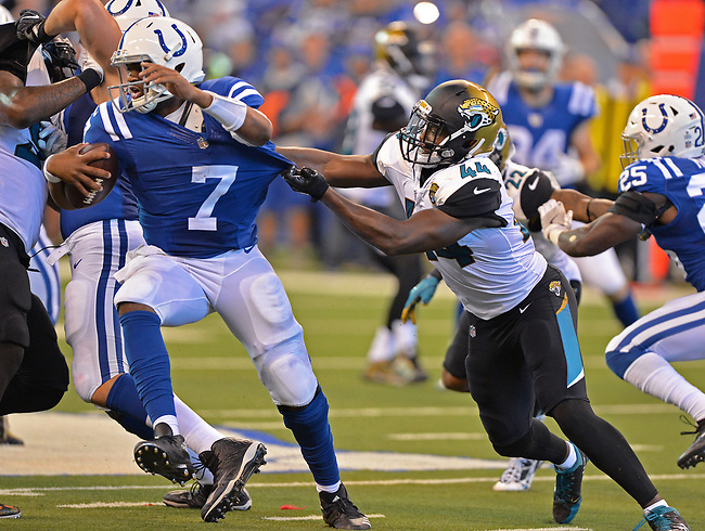 Jacksonville Jaguars linebacker Myles Jack (44) sacks Indianapolis Colts quarterback Jacoby Brissett (7) for a 6 yard loss with 9:06 to play in the third quarter in a NFL game Sunday, October 22, 2017 in Indianapolis, IN.  (Rick Wilson/Jacksonville Jaguars)