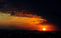 sunset sun sky clouds dusk Phoenix Arizona weather storm chaser chasing mountains sun