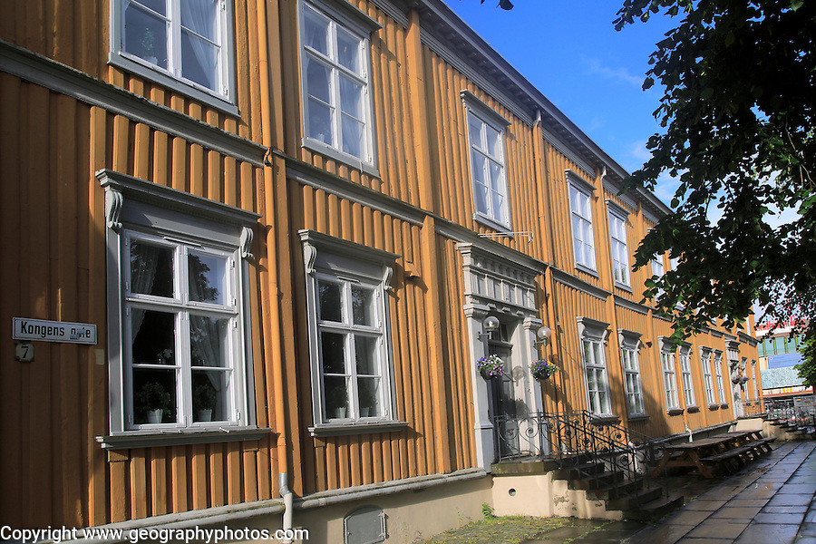 Historic wooden buildings in city centre, Kongens gate, Trondheim, Norway