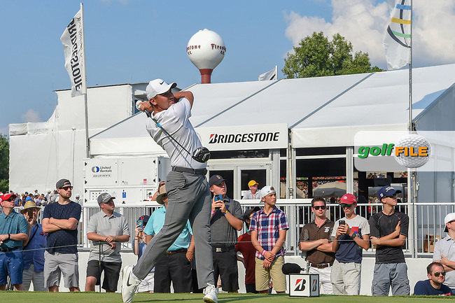 Jason Day (AUS) watches his tee shot on 17 during 4th round of the World Golf Championships - Bridgestone Invitational, at the Firestone Country Club, Akron, Ohio. 8/5/2018.<br /> Picture: Golffile | Ken Murray<br /> <br /> <br /> All photo usage must carry mandatory copyright credit (© Golffile | Ken Murray)