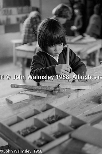 In the carpentry room, Summerhill school, Leiston, Suffolk, UK. 1968.