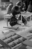 In the carpentry room, Summerhill school, Leiston, Suffolk, UK. 1968.