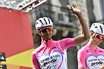 Amore & Vita-Prodir team at sign on before the start of Stage 1 of Il Giro di Sicilia running 165km from Catania to Milazzo, Italy. 3rd April 2019.<br /> Picture: LaPresse/Fabio Ferrari | Cyclefile<br /> <br /> <br /> All photos usage must carry mandatory copyright credit (© Cyclefile | LaPresse/Fabio Ferrari)