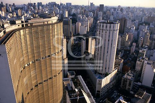 Sao Paulo, Brazil. View from the top of the Edificio Italia looking south west; Edificio Copan and Edificio Ipiranga with Rua da Consolacao stretching away in the distance.