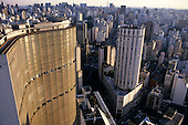 Sao Paulo, Brazil. View from the top of the Edificio Italia looking south west; Edificio Copan and Edificio Ipiranga with Rua da Consolacao stretching away in the distance.