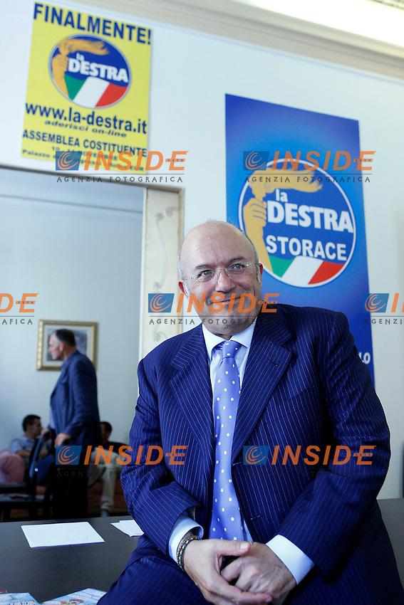 Il Segretario de La Destra Francesco Storace .Roma 26/07/2012 Inaugurazione della nuova sede del movimento politico La Destra.Foto Serena Cremaschi Insidefoto