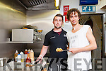 Actor Robert Sheehan and his cousin Jesse Sheehan flipping burgers in the Real Deal Burger Co, Killorglin on Friday night
