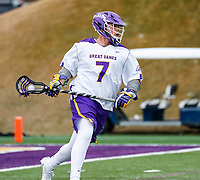 University at Albany Men's Lacrosse defeats Drexel 18-5 on Feb. 24 at Casey Stadium.  Mitch Laffin (#7). (Photo by Bruce Dudek / Cal Sport Media/Eclipse Sportswire)