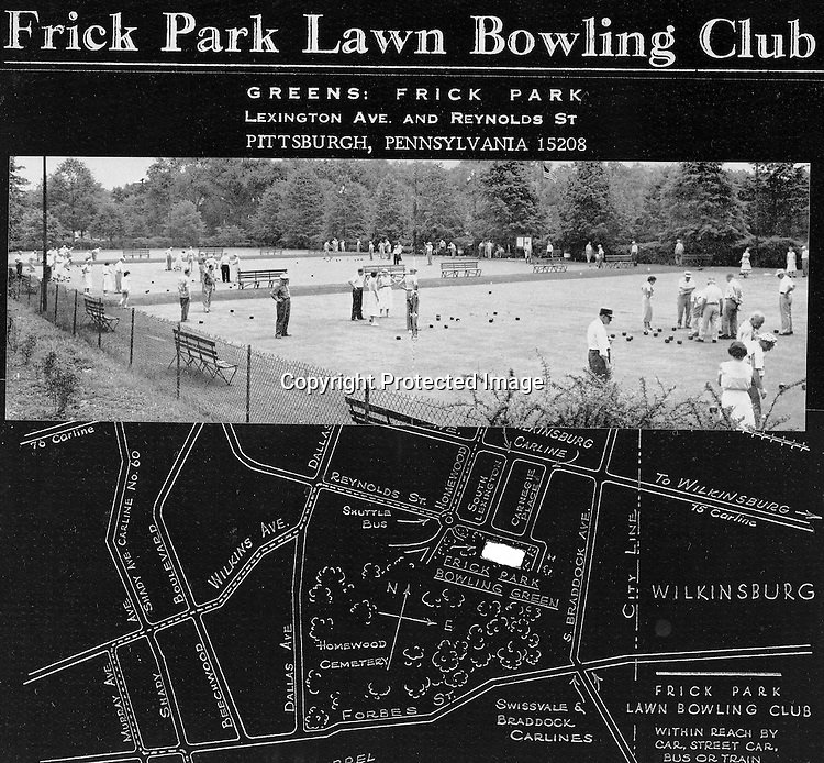 Pittsburgh PA - View of the Greens at Frick Park along with directions - 1969