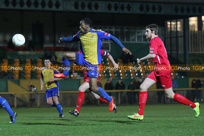 Loui Hazlewood goes close to a goal for Romford - Romford vs Wroxham - Ryman League Division One North Football at Ship Lane, Thurrock FC - 18/03/15 - MANDATORY CREDIT: Gavin Ellis/TGSPHOTO - Self billing applies where appropriate - contact@tgsphoto.co.uk - NO UNPAID USE