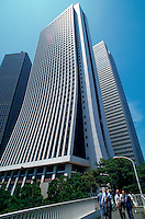 The exterior of high-rise office buildings in the Japanese business district of Shinjuku. Tokyo, Japan.