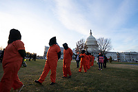 Demonstrators from the group Witness Against Torture join demonstrators outside the United States Capitol in Washington D.C., U.S., on Thursday, January 9, 2020, to oppose a war with Iran, as the United States House of Representatives convenes to vote on a war powers resolution that would mandate United States President Donald J. Trump receive congressional authorization for any future military action taken toward Iran.<br /> <br /> Credit: Stefani Reynolds / CNP/AdMedia