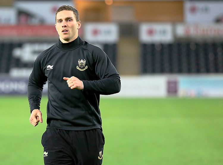 Northampton Saints George North during the pre match warm up<br /> <br /> Photographer Simon King/CameraSport<br /> <br /> Rugby Union - European Rugby Champions Cup - Pool 5 - Ospreys v Northampton Saints - Sunday 18th January 2015 - Liberty Stadium - Swansea<br /> <br /> &copy; CameraSport - 43 Linden Ave. Countesthorpe. Leicester. England. LE8 5PG - Tel: +44 (0) 116 277 4147 - admin@camerasport.com - www.camerasport.com