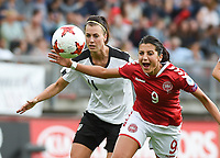 20170803 - BREDA , NETHERLANDS : Danish Nadia Nadim (R) and Austrian Viktoria Schnaderbeck  (L) pictured during the female soccer game between Denmark and Austria  , the semi final at the Women's Euro 2017 , European Championship in The Netherlands 2017 , Thursday 3th of August 2017 at Stadion Rat Verlegh in Breda , The Netherlands PHOTO SPORTPIX.BE | DIRK VUYLSTEKE