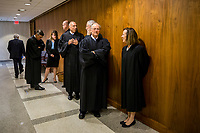 TALLAHASSEE, FLA. 3/7/17-Members of the Florida Supreme Court wait to enter the House Chamber for the Governor's State of the State address during opening day of the 2017 legislative session at the Capitol in Tallahassee.<br /> <br /> COLIN HACKLEY PHOTO