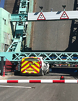 BNPS.co.uk (01202) 558833. <br /> Pic: LeeHebditch/BNPS<br /> <br /> Lockdown!<br /> <br /> A hapless council worker was 'in for a rollicking' after parking his van too close to a lifting bridge which crushed it when it opened.<br /> <br /> The hydraulic road bridge the spans part of Poole Harbour in Dorset is currently closed to traffic for maintenance work.<br /> <br /> The unnamed engineer working on the structure parked the Fiat Talento van well beyond the red and white safety barrier thinking it was safe to do so.<br /> <br /> But he left it too close to the mechanical hinge of the bascule bridge which lifted up to let a passing boat through.<br /> <br /> At that moment the hulking steel counterweight on one arm of the bridge swung down on top of the Bournemouth Christchurch and Poole Council van and squashed it.
