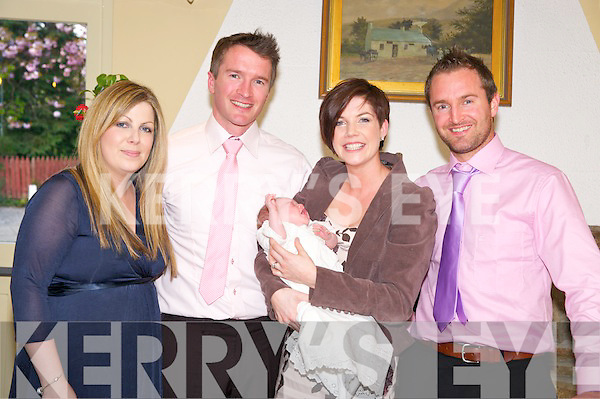 Baby Mia Murphy, Kenmare, pictured with her parents Erica and Hugh and godparents Leona Andrews and Sean Murphy at her christening celebrations in Kate Kearneys Cottage, Beaufort on Saturday night.
