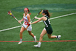 TAMPA, FL - MAY 20: Erin McMullen #8 of the Le Moyne Dolphins defends Sam Keesey #23 of the Florida Southern Mocs during the Division II Women's Lacrosse Championship held at the Naimoli Family Athletic and Intramural Complex on the University of Tampa campus on May 20, 2018 in Tampa, Florida. Le Moyne defeated Florida Southern 16-11 for the national title. (Photo by Jamie Schwaberow/NCAA Photos via Getty Images)