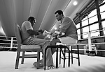 07.06.2011, Stanglwirt, Going, AUT, Wladimir Klitschko, Training, im Bild Trainer Emanuel Steward bandagiert seinem schützling Wladimir Klitschko (R) die Händeduring a training session at Hotel Stanglwirt, Going, Austria on 7/6/2011. EXPA Pictures © 2011, PhotoCredit: EXPA/ J. Groder