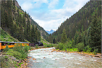 The Durango to Silverton Narrow Gauge Railroad winds along the valley and over high cliffs as it follows the Animas River for 52 miles. The three and a half hour ride allows the opportunity to take the rugged Colorado landscapes of the San Juans, and also presents a change to capture some great images. <br />