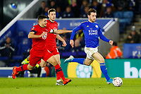 4th January 2020; King Power Stadium, Leicester, Midlands, England; English FA Cup Football, Leicester City versus Wigan Athletic; Ben Chilwell of Leicester City on the ball - Strictly Editorial Use Only. No use with unauthorized audio, video, data, fixture lists, club/league logos or 'live' services. Online in-match use limited to 120 images, no video emulation. No use in betting, games or single club/league/player publications