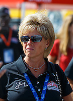 Sep 2, 2016; Clermont, IN, USA; Annette Schnatter , wife of Papa Johns pizza founder John Schnatter (not pictured) during NHRA qualifying for the US Nationals at Lucas Oil Raceway. Mandatory Credit: Mark J. Rebilas-USA TODAY Sports