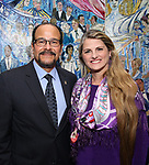 Luis Falcon and Bonnie Comley attends the UMass Lowel Cockail Party for 'Sunset Boulevard' hosted by Chancellor Jacquie Moloney, Bonnie Comley and Stewart F. Lane at Sardi's on April 5, 2017 in New York City