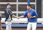 Ichiro Suzuki (Yankees), Daisuke Matsuzaka (Mets),<br /> MAY 15, 2014 - MLB :<br /> Ichiro Suzuki of the New York Yankees shakes hands with Daisuke Matsuzaka of the New York Mets during practice before the Major League Baseball game at Citi Field in Flushing, New York, United States. (Photo by AFLO)