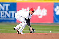 Erie Seawolves shortstop Hernan Perez #15 fields a ground ball during a game against the Erie Seawolves on April 23, 2013 at Jerry Uht Park in Erie, Pennsylvania.  Erie defeated Bowie 4-1.  (Mike Janes/Four Seam Images)