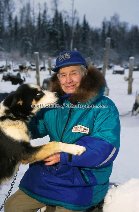 Joe Redington Sr W/ Dog Knik Southcentral Ak Winter Portrait