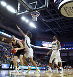 SIOUX FALLS, SD - MARCH 8: Matt Pile #40 of the Nebraska-Omaha Mavericks goes up for a layup against the Oral Roberts Golden Eagles at the 2020 Summit League Basketball Championship in Sioux Falls, SD. (Photo by Richard Carlson/Inertia)